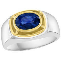 1 1/2 Ct Oval Natural Blue Sapphire Engagement Ring in 18 Karat Two-Tone Gold