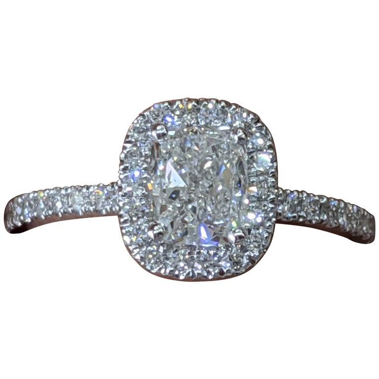 1 1/3 Carat 14 Karat White Gold Elongated Cushion Diamond Engagement Ring For Sale