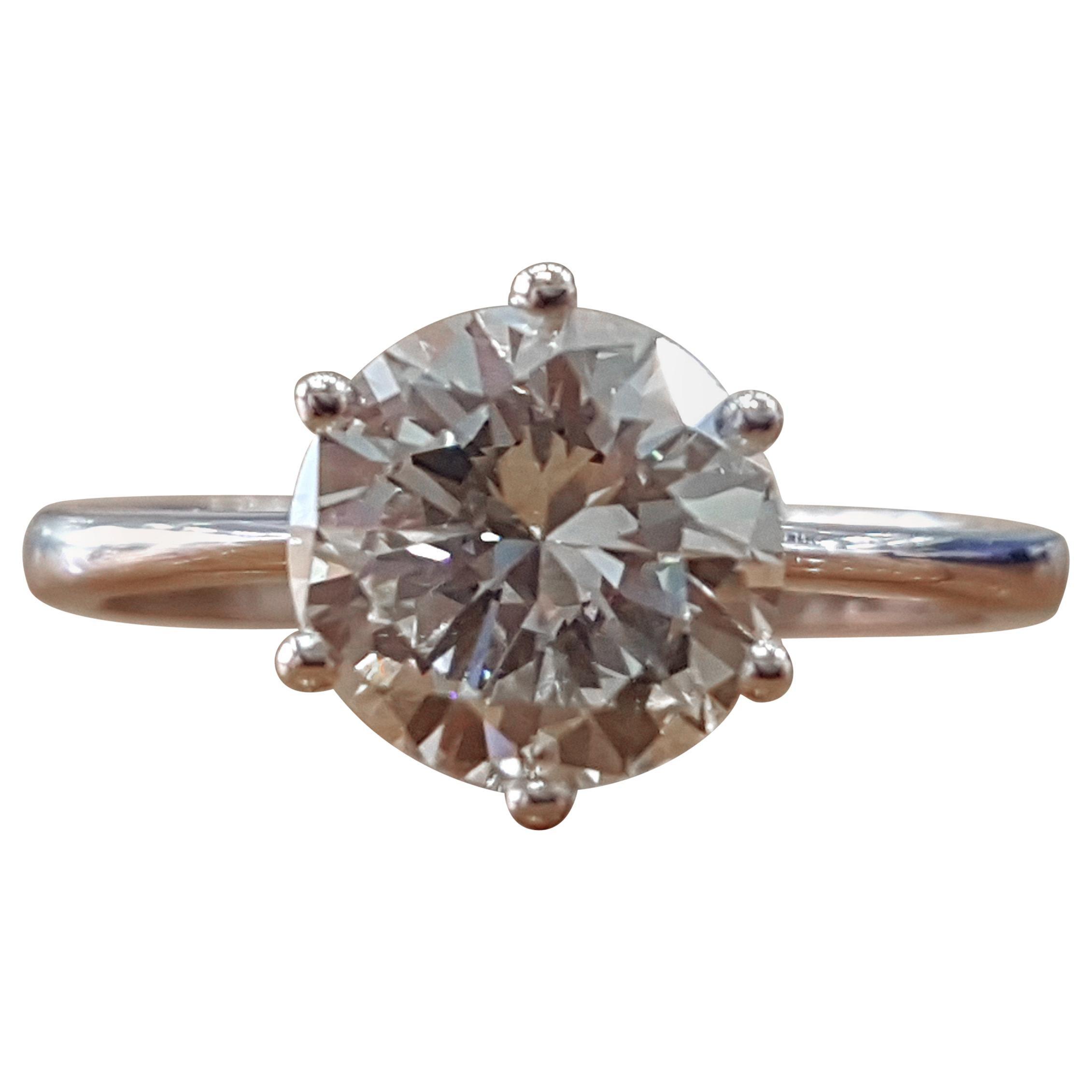 1 1/3 Carat 14 Karat White Gold Round Diamond Engagement Ring