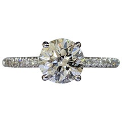 1 1/3 Carat 14 Karat White Gold Round Diamond Ring, Solitaire Diamond Ring