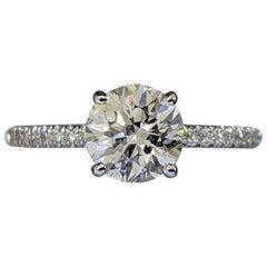 1 1/3 Carat 14 Karat White Gold Round Diamond Ring, Solitaire Diamond Ring