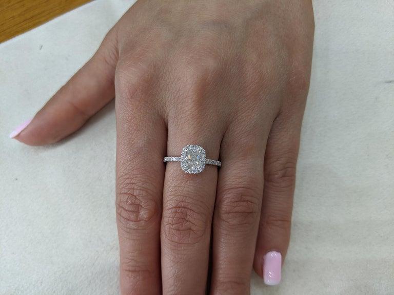 1 1/3 Carat Diamond Engagement Ring, Cushion Diamond Ring, Elongated Cushion Ring , Engagement Ring, Cushion Halo, Anniversary Ring    Main Stone Name: Earth Mined Diamond  Main Stone Weight: 0.90 ct.  Main Stone Clarity: SI  Main Stone Color: G