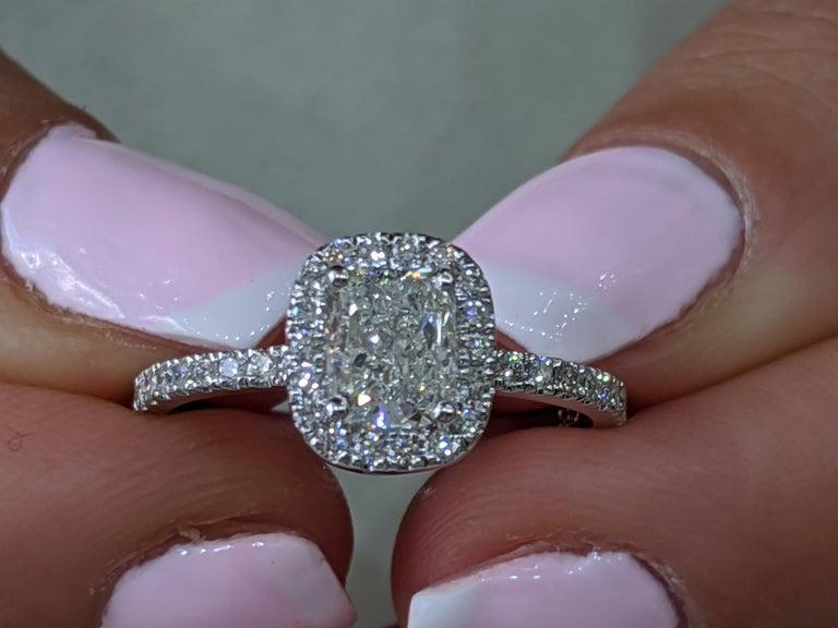 Cushion Cut 1 1/3 Carat 14 Karat White Gold Elongated Cushion Diamond Engagement Ring For Sale