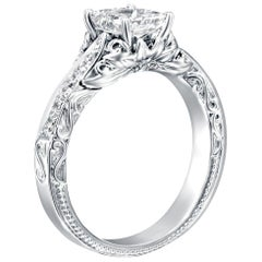 1 1/3 Carat Platinum GIA Certified Radiant Diamond Engagement Ring