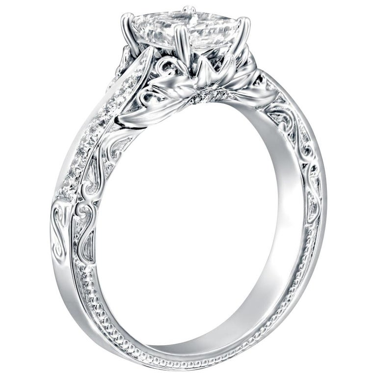 1 1/3 Carat Platinum GIA Certified Radiant Diamond Engagement Ring For Sale