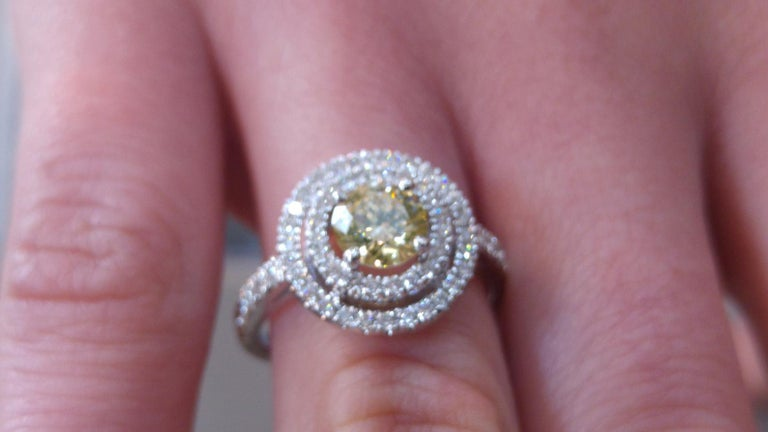 Art Deco 1 1/4 14 Karat White Gold Fancy Yellow Round Diamond Double Halo Engagement Ring For Sale