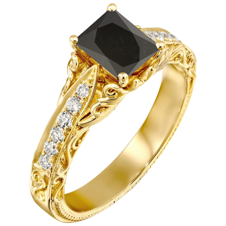 1 1/4 Carat 14 Karat Yellow Gold Certified Radiant Black Diamond Engagement Ring
