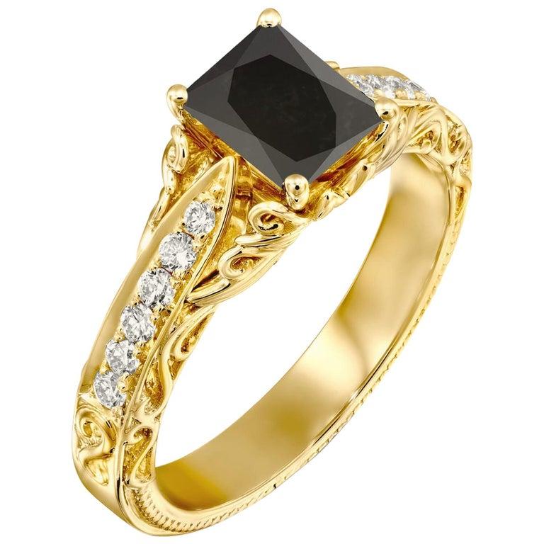 1 1/4 Carat 14 Karat Yellow Gold Certified Radiant Black Diamond Engagement Ring For Sale