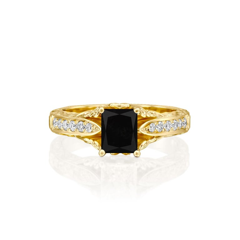 Beautiful solitaire with accents vintage style diamond engagement ring. Center stone is natural, radiant shaped, AAA quality Black Diamond of 1 carat and it is surrounded by smaller natural diamonds approx. 0.25 total carat weight. The total carat