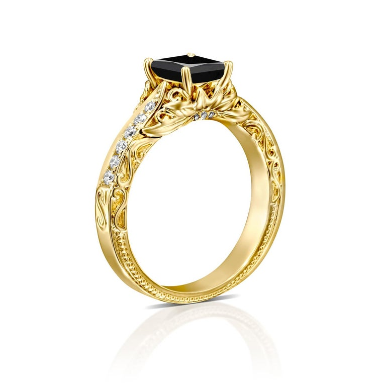 Art Deco 1 1/4 Carat 14 Karat Yellow Gold Certified Radiant Black Diamond Engagement Ring For Sale