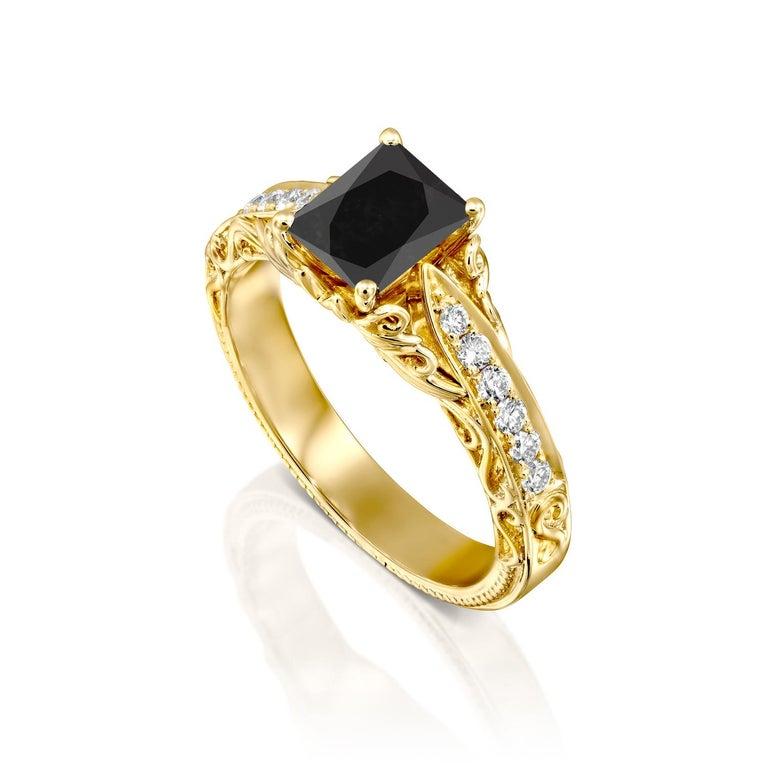 Radiant Cut 1 1/4 Carat 14 Karat Yellow Gold Certified Radiant Black Diamond Engagement Ring For Sale