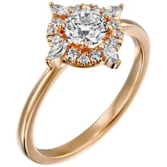 1 1/4 Carat GIA Diamond Engagement Ring, Vintage Halo 18 Karat Rose Gold Ring