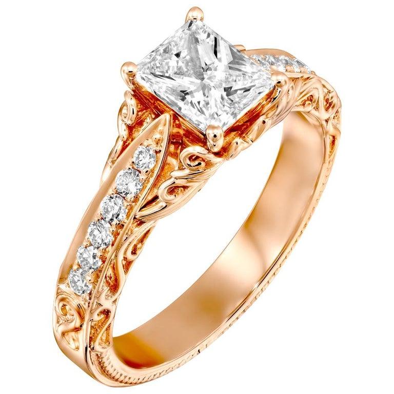 1 1/4 Carat Radiant Cut Engagement Ring, 18 Karat Rose Gold Vintage Diamond Ring For Sale