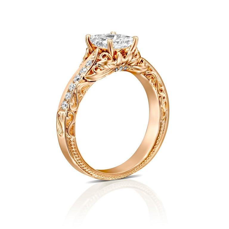 Art Deco 1 1/4 Carat Radiant Cut Engagement Ring, 18 Karat Rose Gold Vintage Diamond Ring For Sale