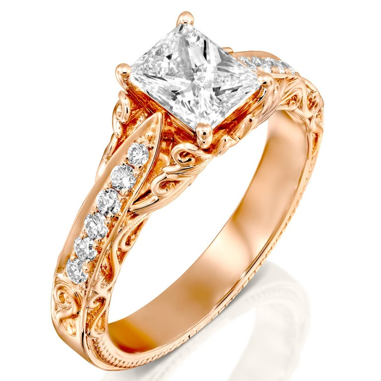 1 1/4 Carat Radiant Cut Engagement Ring, 18 Karat Rose Gold Vintage Diamond Ring In New Condition For Sale In New York, NY