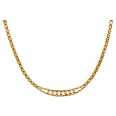 Diamond Choker Chain Necklace in 14 Karat Yellow Gold, 7 Diamonds Custom Made