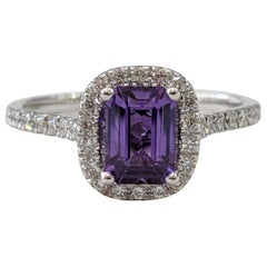 1 2/3 14 Karat White Gold Emerald Cut Violet Sapphire Engagement Ring
