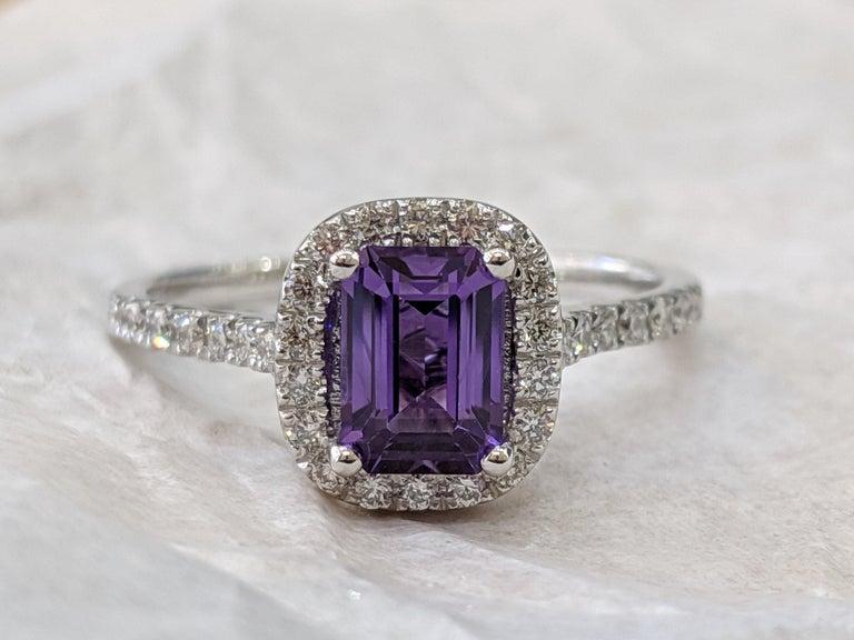 Art Deco 1 2/3 14 Karat White Gold Emerald Cut Violet Sapphire Engagement Ring For Sale