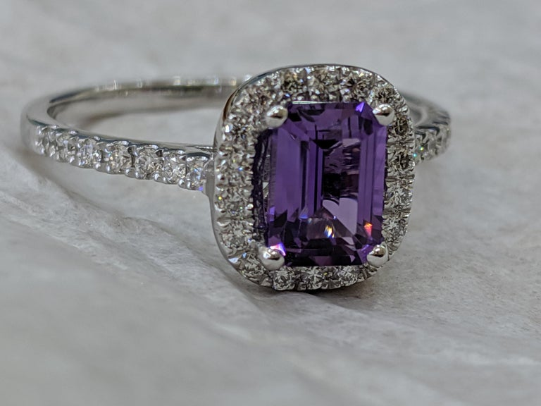 1 2/3 14 Karat White Gold Emerald Cut Violet Sapphire Engagement Ring In New Condition For Sale In New York, NY