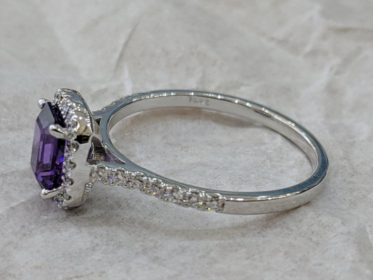 Women's 1 2/3 14 Karat White Gold Emerald Cut Violet Sapphire Engagement Ring For Sale