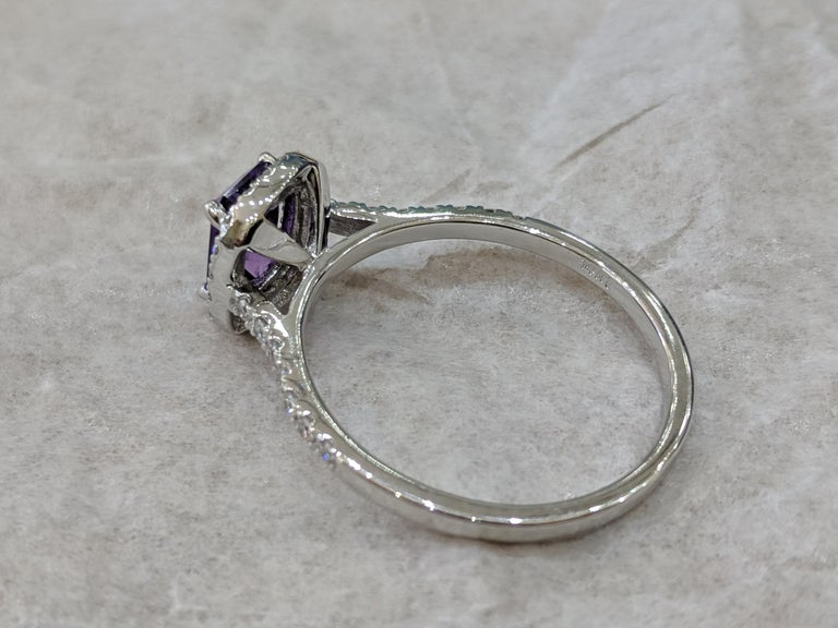 1 2/3 14 Karat White Gold Emerald Cut Violet Sapphire Engagement Ring For Sale 1