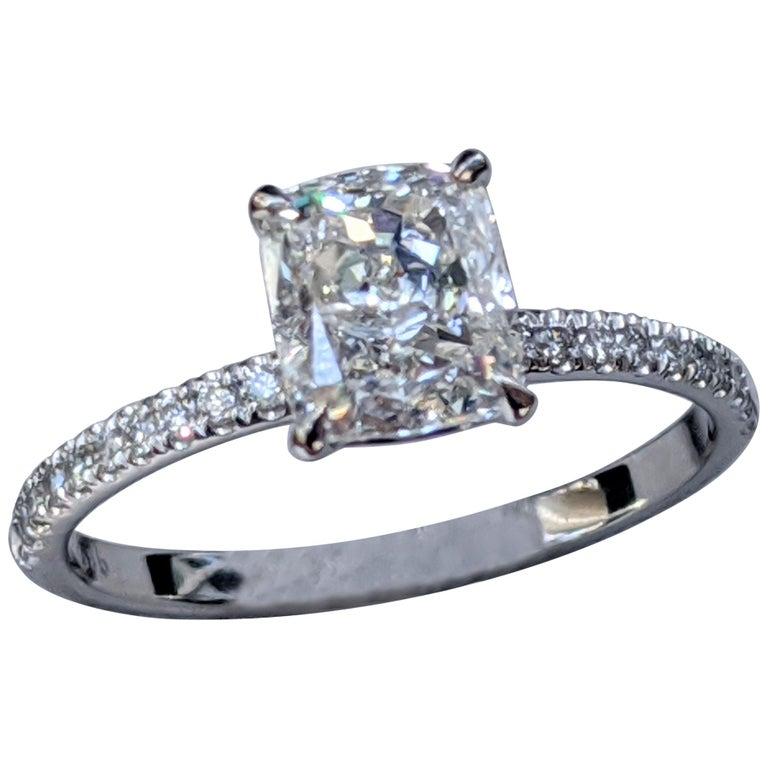 1 2/3 Carat 14 Karat White Gold Cushion Diamond Engagement Ring For Sale