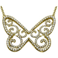 1 2/3 Carat 14 Karat Yellow Gold Diamond Necklace, Diamond Butterfly Pendant