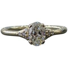 1/2 Carat 14 Karat White Gold Diamond Ring, Oval Diamond Engagement Ring