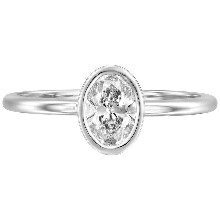 1/2 Carat 14 Karat White Gold GIA Oval Diamond Engagement Ring, Oval Bezel Ring For Sale