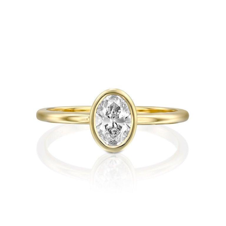 Art Deco 1/2 Carat 14 Karat White Gold GIA Oval Diamond Engagement Ring, Oval Bezel Ring For Sale