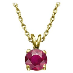 1/2 Carat 14k Yellow Gold Round Ruby Solitaire Necklace, Ruby Pendant Necklace