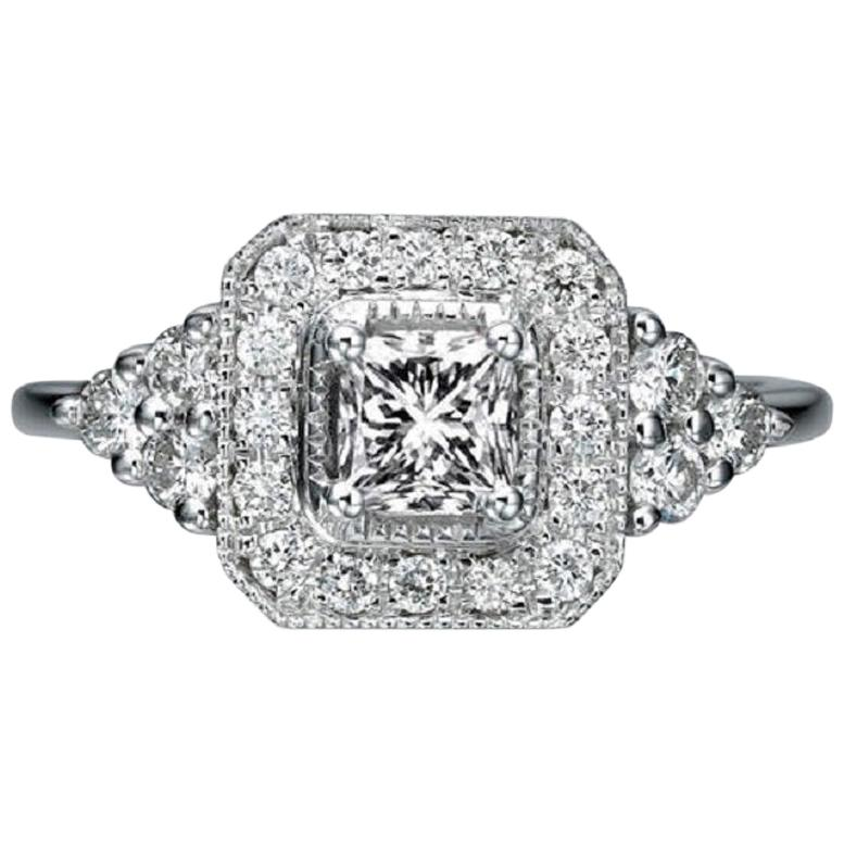 1/2 Carat 18 Karat White Gold Art Deco Style Princess Diamond Engagement Ring