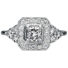 1/2 Carat 18 Karat White Gold Art Deco Style Princess Diamond Engagement Ring