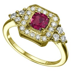 1/2 Carat 18 Karat Yellow Gold Cushion Ruby Art Deco Style Engagement Ring