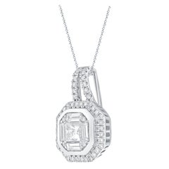 1/2 Carat Certified Round & Bagg & Princess Diamond Pendant with Halo 18 Kt Gold