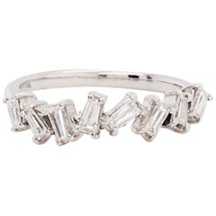 1/2 Carat Diamond Baguette Ring, 0.50 Carat Tapered Baguette Diamonds White Gold
