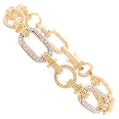 1/2 Carat Diamond Bracelet 14K Yellow & White Gold Alternating Diamond Links