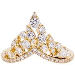 1/2 Carat Diamond Cluster V Band Half Carat Diamond Cluster Ring Yellow Gold