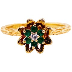 1/2 Carat Emerald and Diamond Tulip Ring 14 Karat Gold Cluster 0.50 Carat Ring