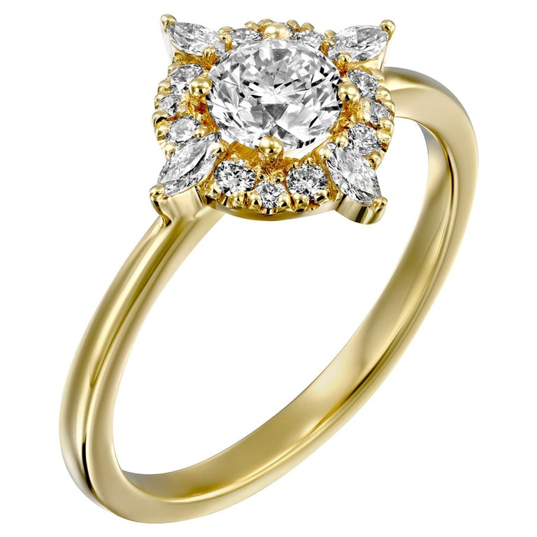 1/2 Carat GIA Diamond Engagement Ring, Vintage Halo 18 Karat Yellow Gold For Sale