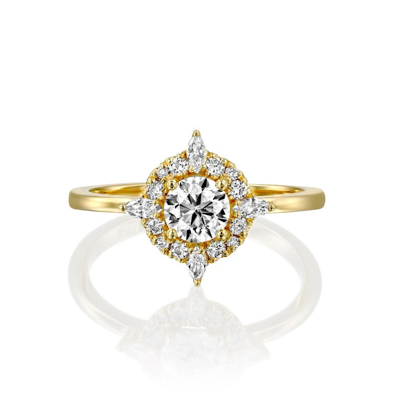 Art Deco 1/2 Carat GIA Diamond Engagement Ring, Vintage Halo 18 Karat Yellow Gold For Sale