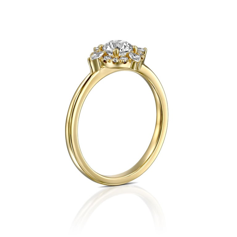 Round Cut 1/2 Carat GIA Diamond Engagement Ring, Vintage Halo 18 Karat Yellow Gold For Sale