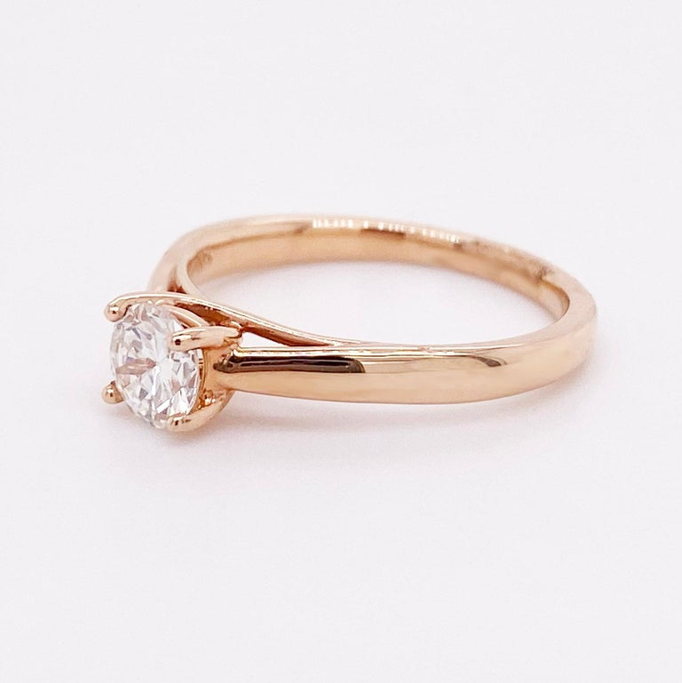 Modern 1/2 Carat Old European Cut Diamond Solitaire Engagement Ring, Rose Gold For Sale