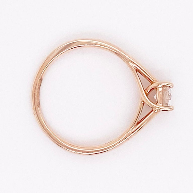 1/2 Carat Old European Cut Diamond Solitaire Engagement Ring, Rose Gold In New Condition For Sale In Austin, TX