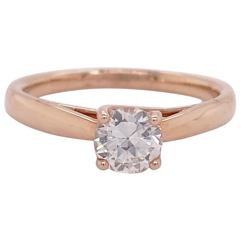 1/2 Carat Old European Cut Diamond Solitaire Engagement Ring, Rose Gold For Sale