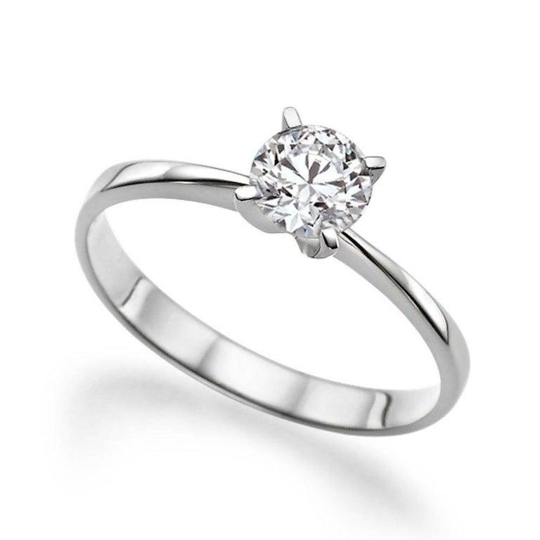 Platinum Diamond Engagement Ring, Solitaire Diamond Ring, Solitaire Platinum Ring, Round Diamond Platinum Ring, Platinum Promise Ring    Main Stone Name: Diamond   Main Stone Weight: 0.50 ct.  Main Stone Clarity: SI1  Main Stone Color: F  Main Stone