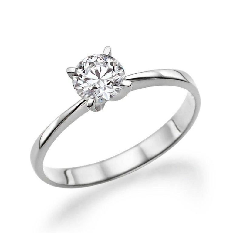 Art Deco 1/2 Carat Platinum Round Diamond Engagement Ring, Solitaire Diamond Ring For Sale
