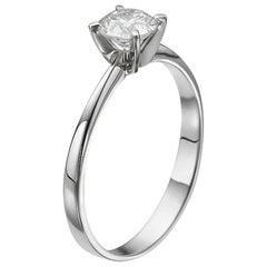 1/2 Carat Platinum Round Diamond Engagement Ring, Solitaire Diamond Ring
