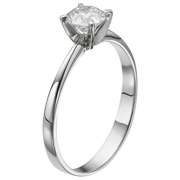 1/2 Carat Platinum Round Diamond Engagement Ring, Solitaire Diamond Ring For Sale