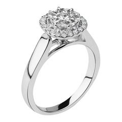 1/2 Carat Round Certified Diamond Ring with Double Halo 14 Karat White Gold